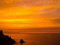 北海道 夕焼けの海