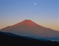 山梨県 赤富士と月