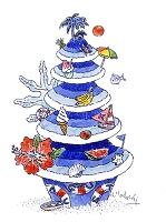 ケーキ 8月 海のイメージ ハイビスカス他