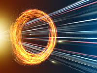 旋回する炎の輪を突き抜ける光線