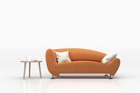 オレンジ色のソファとサイドテーブル 3DCG