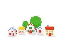 5軒の家と樹木