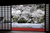 京都府 実相院 客殿から見る雪景色の池泉回遊式庭園