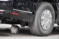 官邸猫が大統領専用車の下に