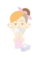 イラスト ティッシュで鼻をかむ女性