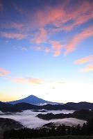 静岡県 清水吉原 夜明けの富士山と雲海の山並み