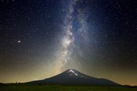 山梨県 梨ヶ原から見る富士山の人文字と天の川