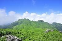 鹿児島県 屋久島の宮之浦登山道より望む永田岳