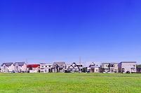 北海道 草原と住宅地