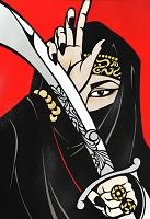 青竜刀 (切り絵)
