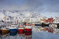 ノルウェー ヘニングスヴァール 港と漁船