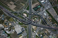 埼玉県 久喜白岡JCT(首都圏中央連絡自動車,東北自動車道)俯瞰撮影