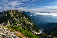 唐松岳山頂から見る唐松岳と不帰ノ嶮と天狗ノ頭