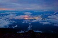 山梨県 富士山八合目から見た富士吉田市の夜景