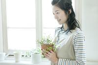 鉢植えを持つ日本人の若い女性