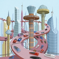 イラスト 未来の都市イメージ