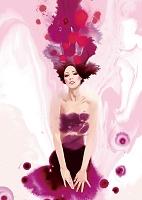 イラスト ドレスを着た若い女性