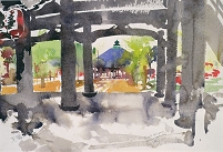 「Temple Entrance, Amanohashidate (w/c on paper)」