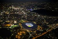 東京都 新宿区 国立競技場(夜景)の空撮