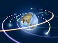 旋回する光線と地球儀