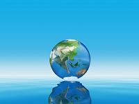 水面上の地球儀