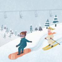 イラスト スノーボードとスキー
