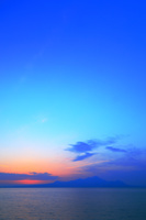 熊本県 宇土市 御興来海岸 有明海と雲仙岳 夕日