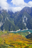 富山県 大観峰から黒部湖と紅葉