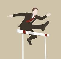 イラスト ハードルを飛ぶビジネスマン