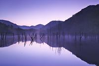 北海道 落合ダムの朝とけあらし
