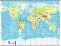 世界全図 地勢図