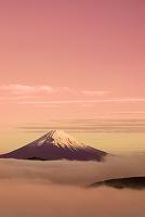 神奈川県 富士山の朝焼けと雲海