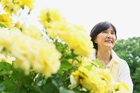 黄色の花とシニア日本人女性