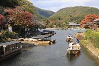 京都府 京都市  遊覧船舟乗り場と川下り舟