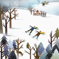 雪に寝転ぶカップル イラスト