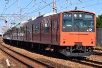 大阪府 桜島線 カーブを曲がる201系普通電車