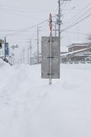 雪深い バス停