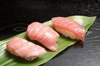 3種類のマグロのにぎり寿司(大トロ・中トロ・赤身)