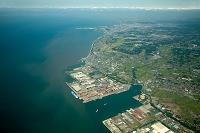 長洲港(日立造船)周辺より大牟田方面と有明海