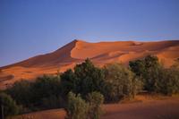 モロッコ サハラ砂漠の夕焼け