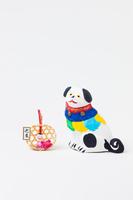 帖佐土人形座り犬正月飾り