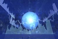 株価グラフと地球