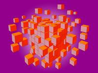 紺色のブロックがランダムに分裂