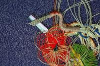 慶事の鶴と花の水引細工