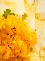 黄色いスイートピーとシャンパン
