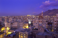 イエメン 北部 サナア 旧市街の夜景