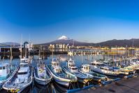 静岡県 夕暮れの田子の浦港と富士山