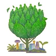 イラスト 人型の樹木とビル街と双葉のエコ