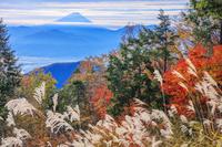 山梨県 櫛形山林道より紅葉と富士山