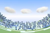 雲と街並み